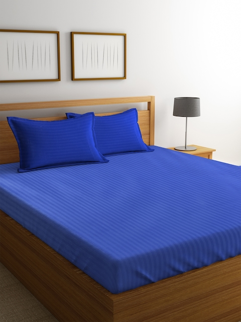 Dreamscape Blue Striped Cotton Double Bedsheet with 2 Pillow Covers