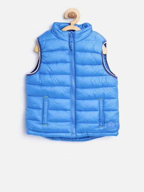 mothercare Boys Blue Solid Sleeveless Puffer Jacket