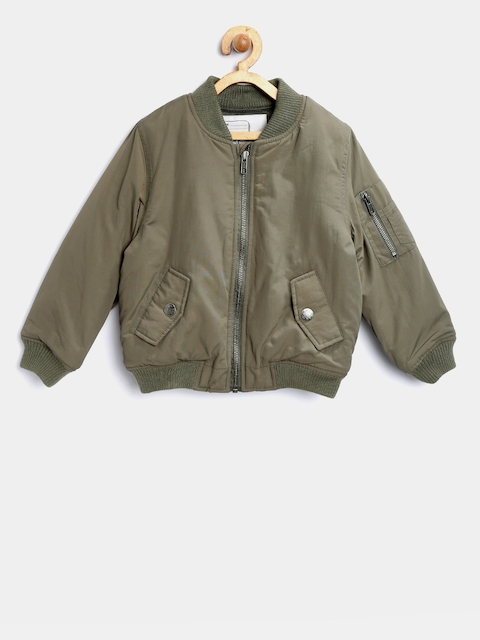 mothercare Boys Olive Green Solid Bomber Jacket
