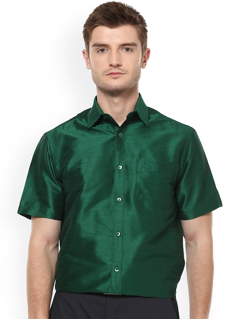 Khoday Williams Men Green Regular Fit Solid Formal Shirt