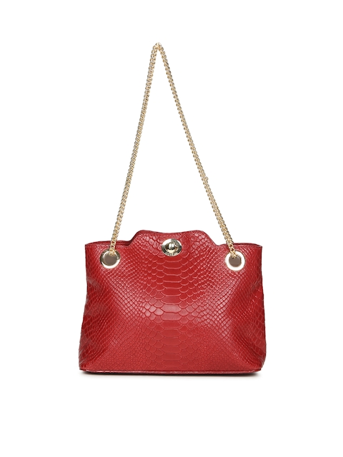 Hidesign Red Textured Leather Shoulder Bag