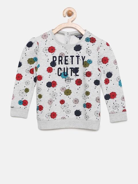 Tommy Hilfiger Girls Grey melange Printed Sweatshirt