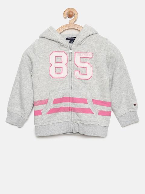 Tommy Hilfiger Girls Grey Melange Printed Hooded Sweatshirt