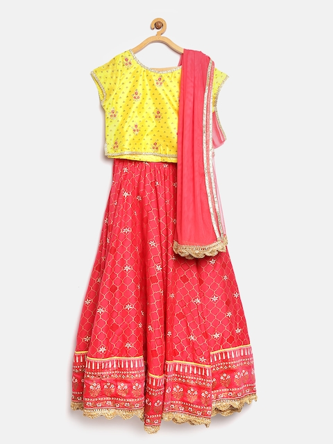 Biba Girls Pink & Yellow Printed Lehenga Choli with Dupatta