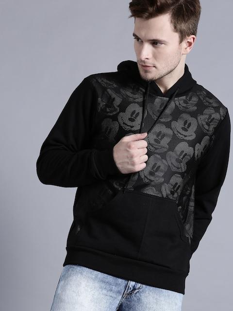 Kook N Keech Disney Men Black Printed Hooded Sweatshirt