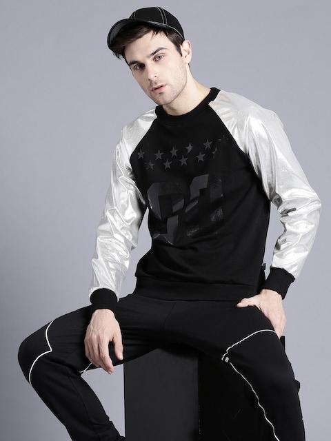 Kook N Keech Men Black & Silver Printed Sweatshirt