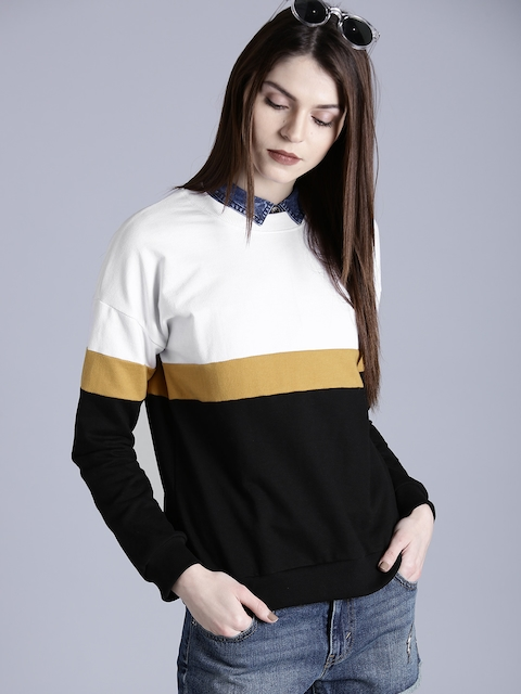 Kook N Keech Women Black & White Colourblocked Sweatshirt