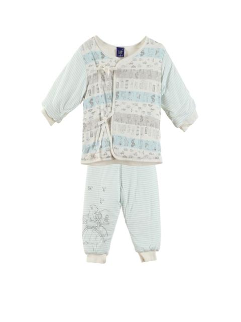 Lilliput Unisex Blue & Beige Printed Clothing Set