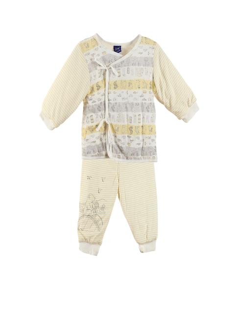 Lilliput Unisex Yellow & Grey Printed Clothing Set