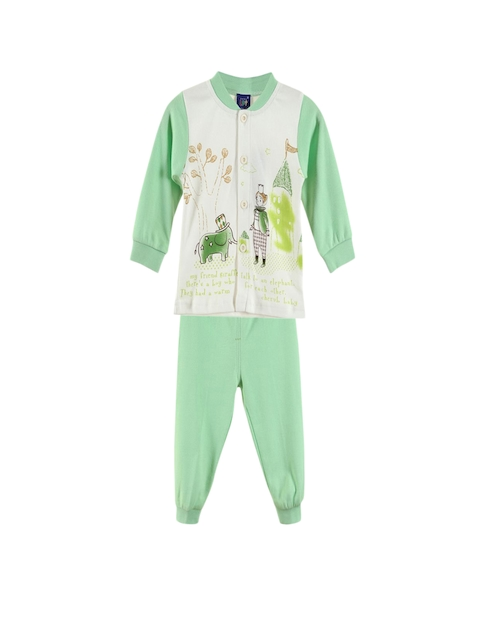 Lilliput Unisex Green & White Printed Clothing Set