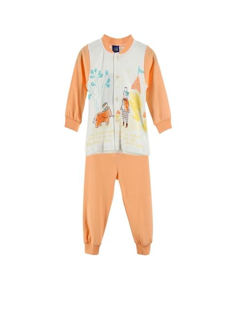 Lilliput Unisex Orange & White Printed Clothing Set