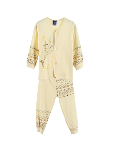 Lilliput Unisex Yellow Printed Clothing Set