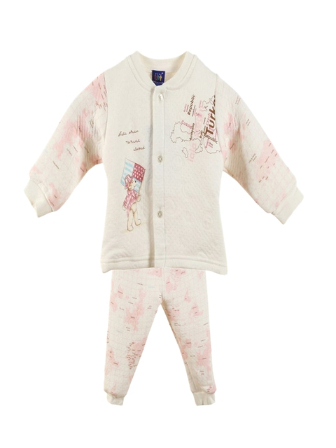 Lilliput Unisex Off-White & Peach-Coloured Printed Clothing Set