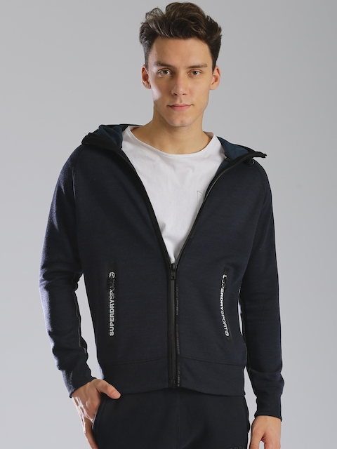 Superdry Men Navy Blue Solid Hooded Sweatshirt