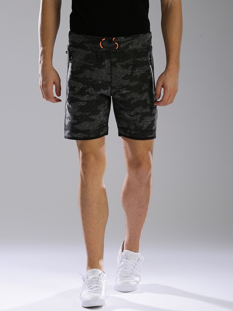 Superdry Men Charcoal Grey Printed Slim Fit Sports Shorts