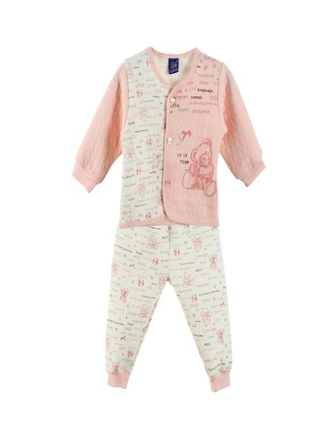 Lilliput Unisex Pink & Cream-Coloured Printed Clothing Set