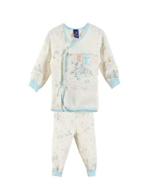 Lilliput Unisex Off-White & Blue Printed Clothing Set