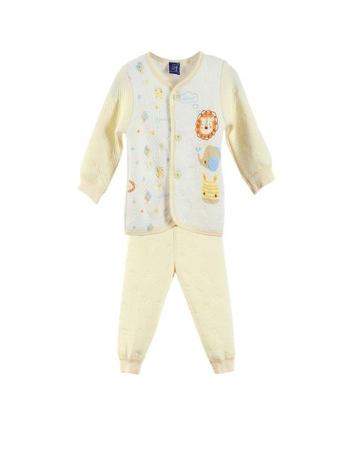 Lilliput Unisex Yellow & Off-White Printed Clothing Set