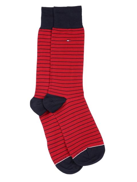 Tommy Hilfiger Men Red & Navy Striped Dress Socks