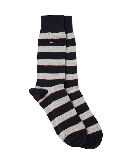 Tommy Hilfiger Men Navy & Grey Striped Socks A7CS5125