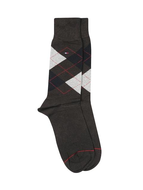Tommy Hilfiger Men Brown Argyle Pattern Above Ankle-Length Trouser Socks