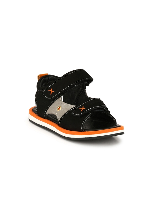 TUSKEY Boys Black Genuine Leather Sandals