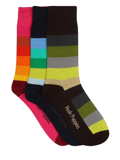 Hush Puppies Men Pack of 3 Striped Socks