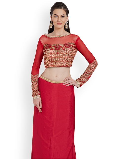RIYA Red Embroidered Art Silk & Faux Georgette Saree Blouse
