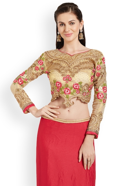 RIYA Gold-Toned Embroidered Art Silk Saree Blouse