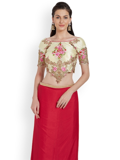 RIYA Cream-Coloured Embroidered Art Silk Saree Blouse