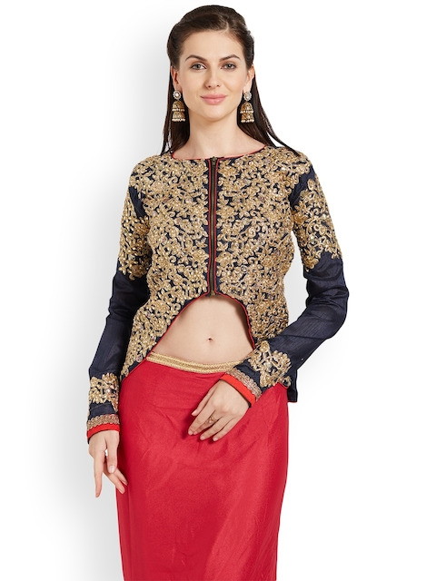 RIYA Navy Embroidered Art Silk Saree Blouse