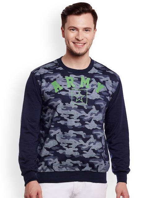 VIMAL Men Navy Blue & Grey Melange Printed Sweatshirt