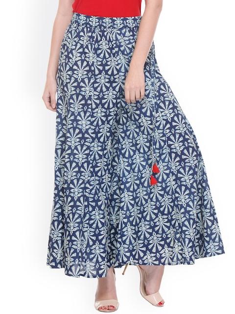 Varanga Women Blue Flared Floral Print Palazzos