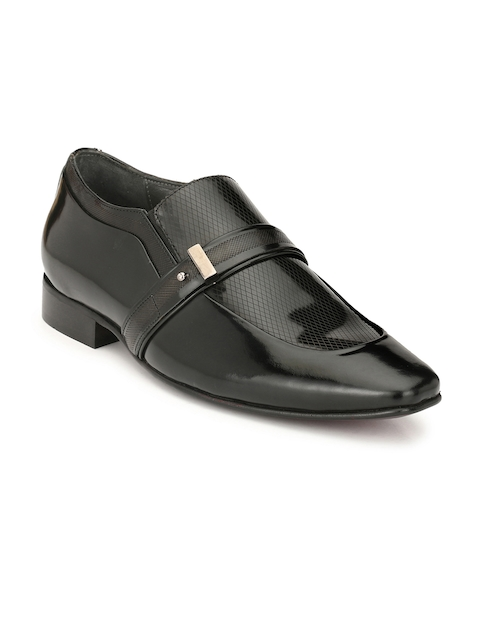 Hitz Men Black Leather Slip-On Semiformal Shoes