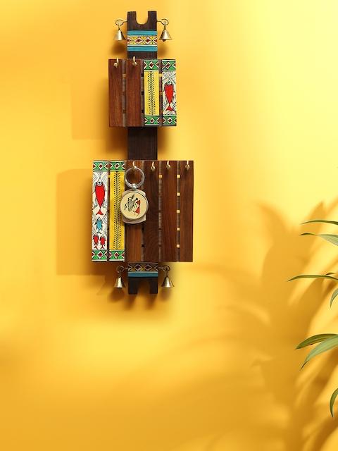 ExclusiveLane Brown Madhubani Hand-Painted Key Holder