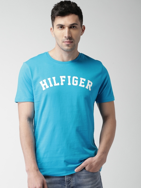 Tommy Hilfiger Men Blue Printed Round Neck T-shirt