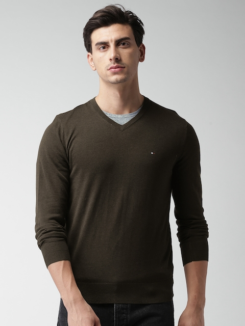 Tommy Hilfiger Men Brown Solid Pullover