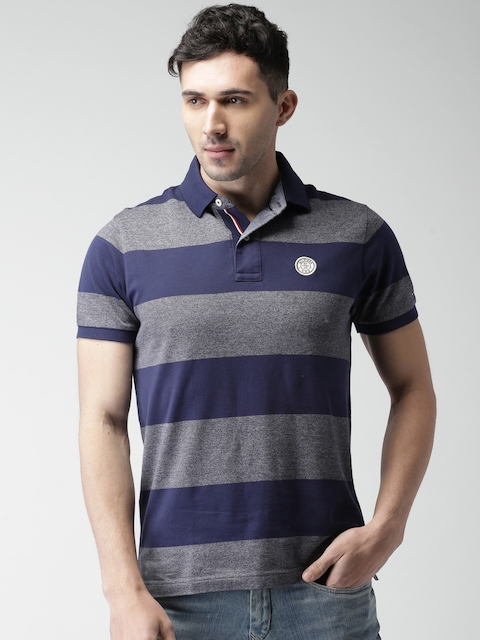 Tommy Hilfiger Men Blue & Grey Striped Polo T-shirt