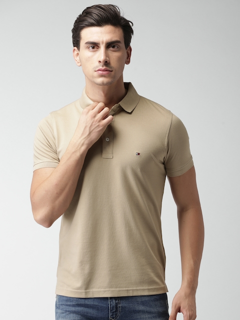 Tommy Hilfiger Men Beige Solid Polo Collar Slim Fit T-shirt