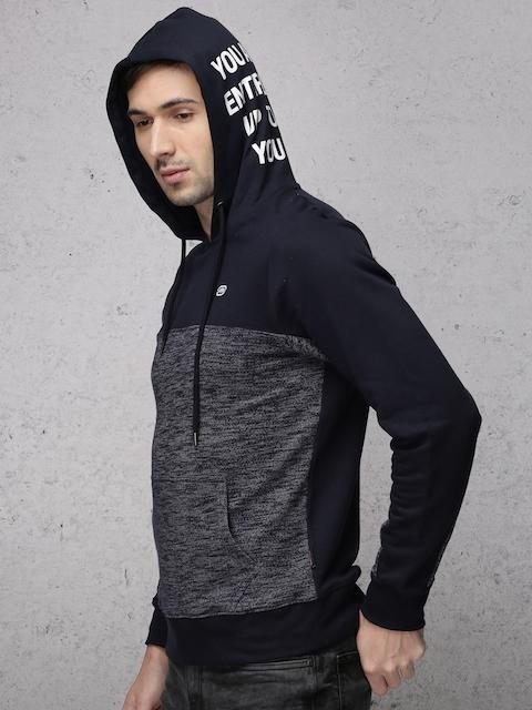 Ecko Unltd Men Navy Self Design Hooded Sweatshirt