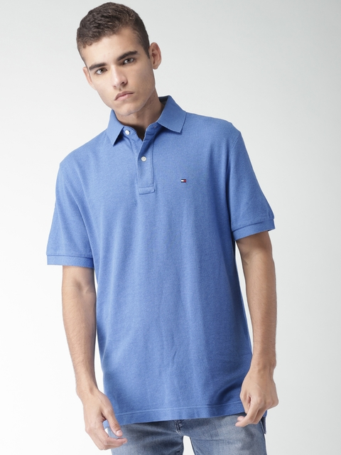 Tommy Hilfiger Men Blue Classic Fit Solid Polo Collar T-shirt