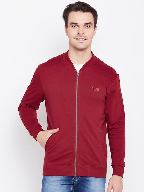 Lee Men Red Solid Sweatshirt