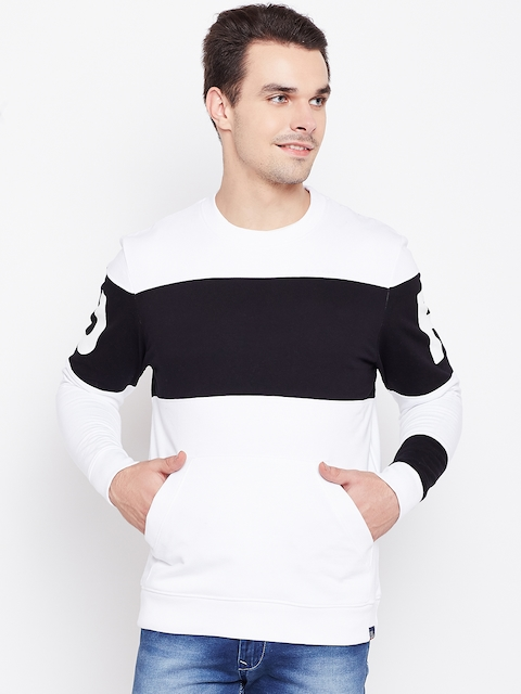 Lee Men White & Black Colourblocked Sweatshirt