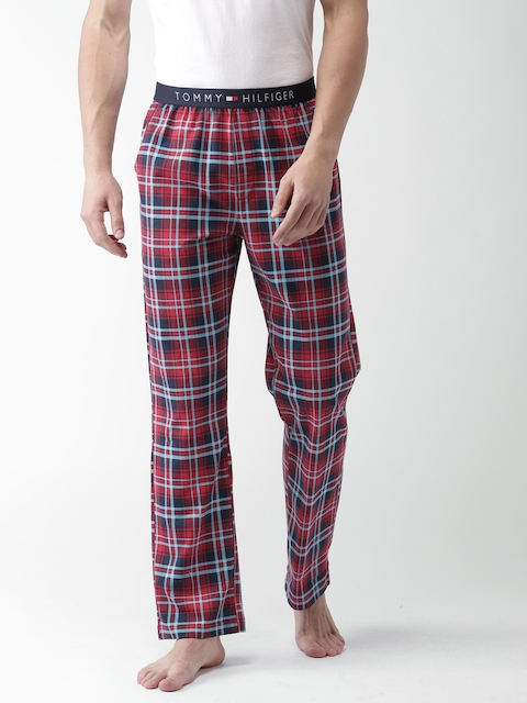 Tommy Hilfiger Men Red & Blue Checked Lounge Pants A7ABN105