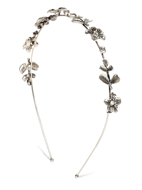 Rubans Oxidised Silver-Toned Floral Hairband