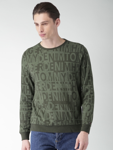Tommy Hilfiger Men Green Self Design Sweatshirt