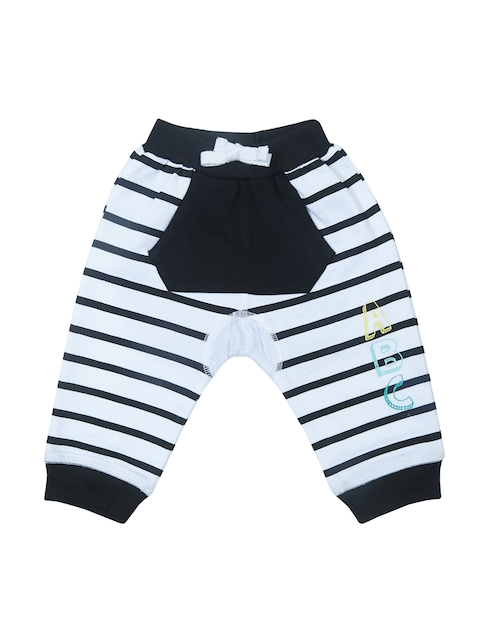 Gini and Jony Boys White & Black Regular Fit Striped Joggers