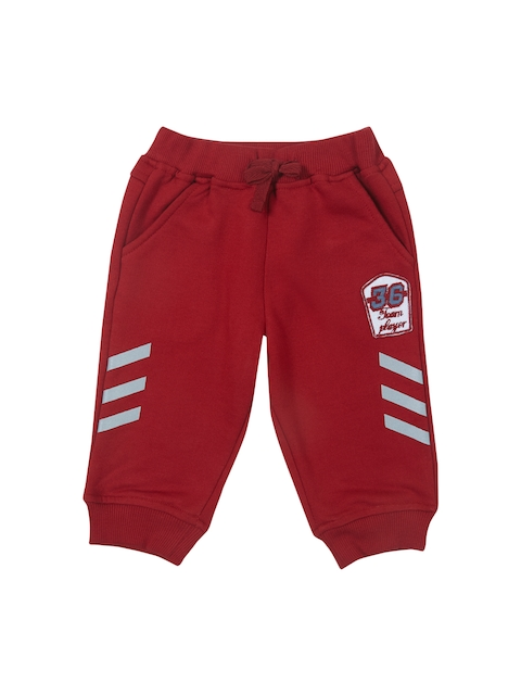 Gini and Jony Boys Red Regular Fit Solid Joggers