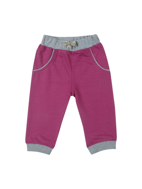 Gini and Jony Boys Pink & Grey Regular Fit Solid Joggers