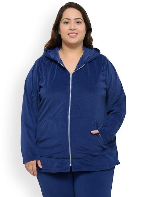 plusS Women Blue Solid Hooded Sweatshirt